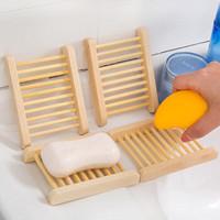米良品 创意天然木质沥水肥皂架 2个装