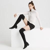考拉工厂店 女款黑色针织尖头过膝靴 *2件