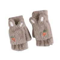 逗米派 儿童保暖加厚五指翻盖手套