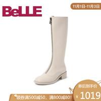 Belle/百丽2019冬新牛皮革女前拉链粗跟长靴皮靴96710DG9 米白 39