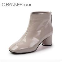 C.BANNER/千百度冬新商场同款漆皮拉链短靴A8540801 灰色 38