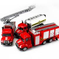 北国e家 合金车头汽车模型儿童小男孩女孩玩具套装收藏版展示架 消防车全套(三只装) *8件
