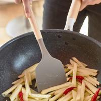 木柄硅胶铲勺2件套锅铲汤勺耐高温静音不伤锅