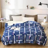羊羔绒毛毯冬季双层加厚盖毯午睡休闲毯子单人双人冬季学生宿舍盖毯