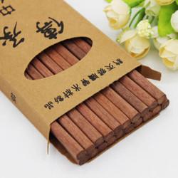 鸡翅木筷子无漆无蜡原木筷子 10双装