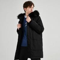森马旗下GLM新款80绒加厚保暖防风连帽大毛领中长款男士羽绒服