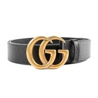 GUCCI 古驰 GG系列 男士金色双G板扣皮带腰带 4CM