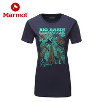 marmot/土拨鼠春夏户外运动女轻薄透气棉质圆领短袖时尚T恤Q57280