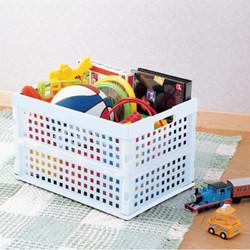 爱丽思可折叠杂物衣服收纳筐塑料网格收纳箱户外外出车载便携箱
