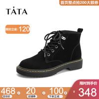 Tata他她冬专柜同款磨砂马丁靴踝靴女短靴EHF01DD8 黑色(绒里) 36
