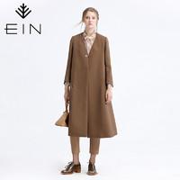 EIN/言小提花肌理复古长款外套女气质极简风衣秋季