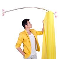 宝优妮u型浴帘杆免打孔伸缩杆卫生间不锈钢转角撑杆弧形浴室杆子