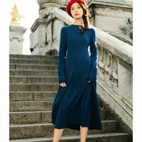 INMAN 茵曼 1891101548ZZ 女士针织修身长款连衣裙