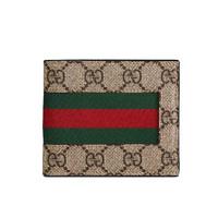 GUCCI 古驰 Signature Web系列 男士GG图案双色织带对折短款钱包