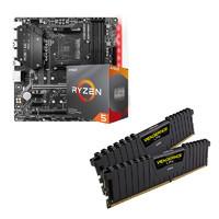 AMD Ryzen 5 3600 盒装CPU  + 微星B450M Mortar Max主板 + 海盗船16GB(8GB*2) DDR4 3000 套装