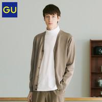 GU极优男装细针V领针织开衫时尚休闲针织外套男春秋外搭320291