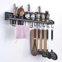 斯沃奇(SKWLOCHE) 黑色厨房置物架 太空铝免钉刀架收纳挂件 黑色置物刀架