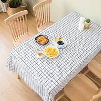 金塑 PVC防水茶几桌布 白色格子 137*70cm
