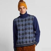 UNIQLO 优衣库 422074 男士羊仔毛提花两翻领针织衫