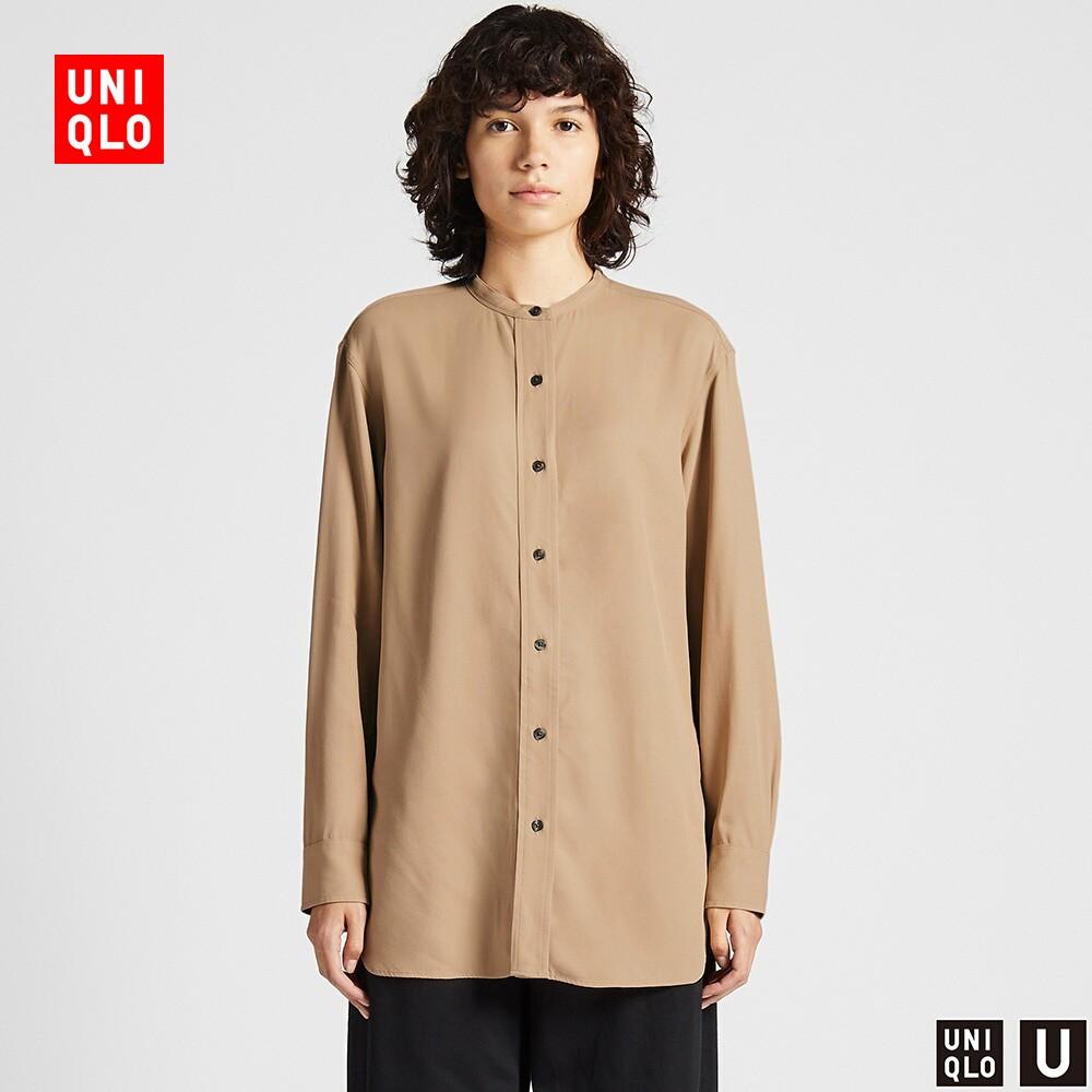 UNIQLO 优衣库 U系列 421077 花式斜纹立领衬衫