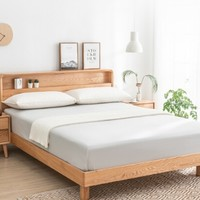 京造  现代简约橡木实木床  1.5米