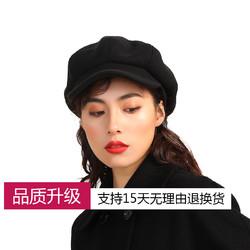 帽子女秋冬韩版八角帽日系甜美可爱画家帽英伦休闲百搭毛呢鸭舌帽