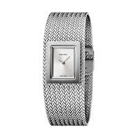 Calvin Klein 卡尔文·克莱恩 银色网链式钢带CK时尚女士石英表 K5L13136 欧美品牌