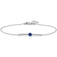 Blue Nile 14k 白金小巧蓝宝石和钻石条形手链 3mm