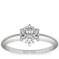 Blue Nile 14k白金经典六爪单石订婚戒指 搭配 1.00克拉钻石