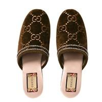 GUCCI 古驰 GG系列 女士印花水晶刺绣滚边天鹅绒穆勒鞋拖鞋 *2件