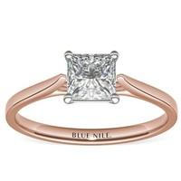 Blue Nile 14k玫瑰金 小巧大教堂单石订婚戒指 搭配1.01克拉钻石
