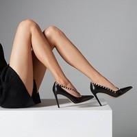 考拉工厂店  铆钉尖头高跟鞋