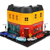 豆豆象 儿童过家家玩具建筑人偶街景模型 建筑+2人偶+6合金车