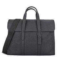 蔻驰 新款男士皮革/涂层帆布配皮 包盖式商务公文包 电脑包 手提包 单肩包 男包
