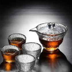 Le Bronte 朗特乐 初雪锤纹茶具套装(盖碗 180ml+功夫茶杯 50ml*4)