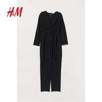 HM MAMA孕妇装 新款黑色直筒阔腿裤长袖连身裤 0822346 黑色 XS