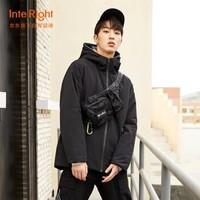 INTERIGHT棉服男 智能加热USB充电石墨烯发热保暖外套 黑色