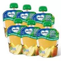 意大利进口 美林 MELLIN 梨子水果泥袋装幼儿零食吸吸乐90g/袋*6/箱 *5件