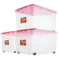 JEKO&JEKO 塑料透明收纳箱加厚大号55L 3只装整理箱衣服收纳盒玩具收纳箱滑轮储物箱 粉色SWB-5212