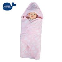 米乐鱼 新生儿抱被 婴儿防踢被睡袋纯棉包被防风被子柔软舒适 四季通用 花茵 *2件+凑单品