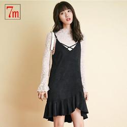 拉夏贝尔 7M莫丽菲尔背带裙秋季女新款韩版休闲复古格子修身显瘦女70009229 *2件