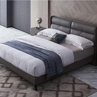 CBD 潘帕斯 现代简约真皮床+桑蚕丝乳胶弹簧床垫 1.5/1.8m