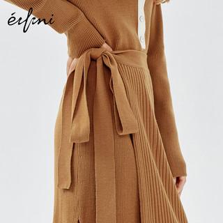 伊芙丽裙子女秋冬冬季打底裙POLO领羊毛假两件针织连衣裙