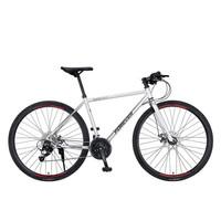 永久700C自行车27速双碟刹男女式越野公路车成人直把城市竞速赛车单车 银色