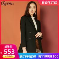 Roem春女小西装女外套简约修身黑色风双排扣商务西服RCJK84902Q