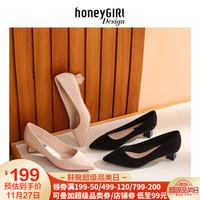 honeyGIRL2018秋季新款粗跟单鞋学生黑色高跟鞋韩版中跟女鞋尖头 黑色 34