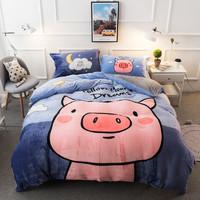 J.H.Longess 双面珊瑚绒加厚床单四件套 社会猪 1.5米-1.8米床