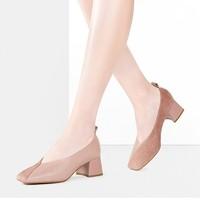 CNE 9T21001 女士拼接低跟奶奶鞋