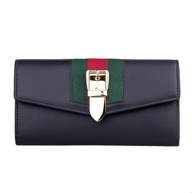 GUCCI 古驰 Sylvie 女士红绿织带针扣钱包