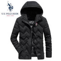 29日6点:U.S. POLO ASSN. 羽绒服男 2019冬季新品男士时尚外套修身连帽商务保暖白鸭绒羽绒外套6194117166 黑色 XL